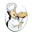 cook with pizza vector image vector image