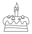 cream cake icon outline style vector image vector image