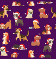dogs and puppies in santa red caps christmas vector image vector image