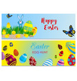 easter cards bunny chickens eggs and flower vector image