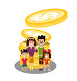 family with dollar coins happy people with money vector image vector image