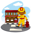 Fire fighter and fire station vector image vector image