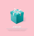gift box turquoise jewelry box on pink background vector image vector image