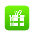 gift in a box icon digital green vector image vector image