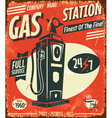 Grunge retro gas station sign vector image vector image