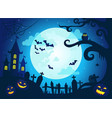 halloween background with scary castle pumpkins vector image