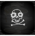 Hand Drawn Skull and Bones with Floral Element vector image vector image