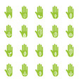 hand with green leaf logo elements vector image vector image