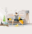 happy young man practicing yoga in living room vector image