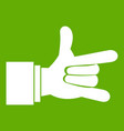 i love you hand sign icon green vector image