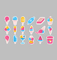 ice cream stickers summer cold dessert set on vector image vector image