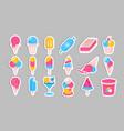 ice cream stickers summer cold dessert set vector image vector image