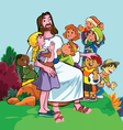 jesus merciful with group children vector image