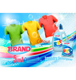 laundry detergent ad plastic bottle and colorful vector image vector image