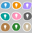 Light bulb symbols Multicolored paper stickers vector image