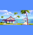 modern bungalows on island resort beach seaside vector image vector image
