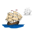 Old sailing ship among ocean waves vector image vector image