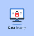 online security computer monitor and padlock vector image