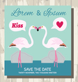 pair of flamingo save the date card vector image vector image