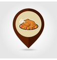 Roasted Turkey ready Thanksgiving mapping pin icon vector image