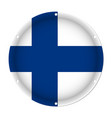 round metallic flag of finland with screw holes vector image vector image