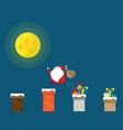 santa claus jumping with gift bag on chimney vector image vector image