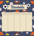 school timetable with sports background vector image vector image