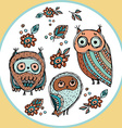 Set of funny owl with flowers sketch doodle vector image vector image