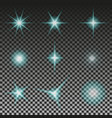 set of glowing light stars with sparkles eps 10 vector image vector image