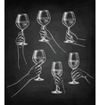 set of hands with wine glasses vector image vector image