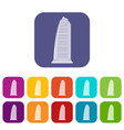 skyscraper icons set vector image vector image