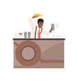smiling bartender shaking and mixing alcohol vector image vector image