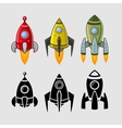 spaceships set color and black vector image vector image