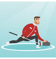 sportsman playing curling on a skating rink vector image vector image