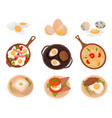 tasty dishes made from eggs set raw boiled and vector image