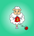 the sheep knit a red scarf drawing vector image