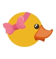 Toy rubber duck with pink bow icon vector image