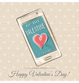 valentine card with smart phone and red heart vector image