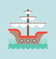 vintage galleon in sea waves flat design nautical vector image vector image