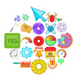 web button icons set cartoon style vector image