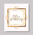 wedding invitation with golden frame vector image vector image