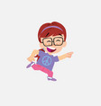 white girl with glasses running smiling vector image