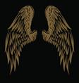 wings bird vintage gold on black background vector image