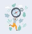 woman run with big compas vector image vector image