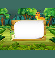 wooden board blank space with cute caterpillar vector image vector image