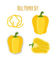 yellow bell pepper set made in cartoon flat style vector image vector image