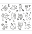 Zodiac icons doodles set vector image vector image