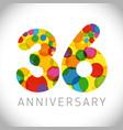 36 years anniversary circle colorful logo vector image vector image