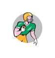 American Football Player Rusher Circle Retro vector image vector image