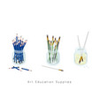 artist brushes and sharpened pencils in jar vector image vector image